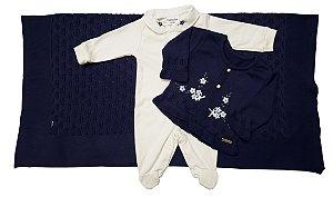 Saída maternidade Azul Marinho florido - 03 peças - Tam. RN - Fofinho - Ref.: 121001