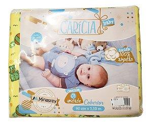 Cobertor Amarelo - Estampas variadas - 90 cm X 1,10 m - Carícia baby - Ref.: 1614