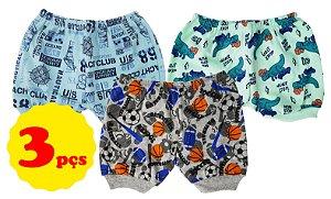 3 Shorts de cor e estampas variadas masculinas - Tam. P/M/G - Mafessoni - Ref.: 116