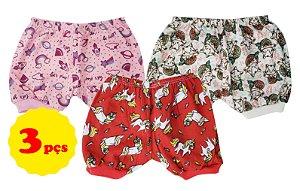 3 Shorts de cor e estampas variadas femininas - Tam. P/M/G - Mafessoni - Ref.: 116