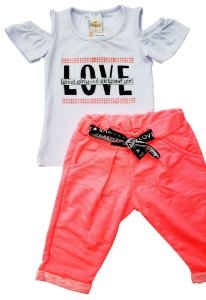 Conjunto blusa manga curta e capri rosa neon - Tam. 2 e 3 - Alekids - Ref.: 20086
