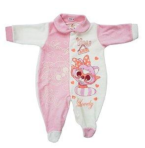 Macacão Plush Rosa - Estampas Variadas - Carolina Baby - Ref. 09385