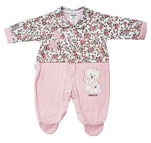 Macacão rosa florido - 100% algodão - Ternura - Ref.: 319406