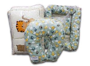 Kit berço Tema Safari 09 peças + ninho redutor + almofada de amamentar - Ref.: 8888-8893-8820