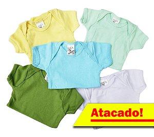 Body manga curta - Estampas SORTIDAS Masculinas - ATACADO - 5 peças de R$6,99 - Ref.:165