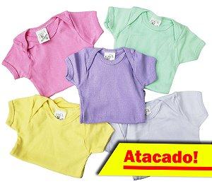Body manga curta - Estampas SORTIDAS femininas - ATACADO - 5 peças de R$6,99 unid. - Ref.:165