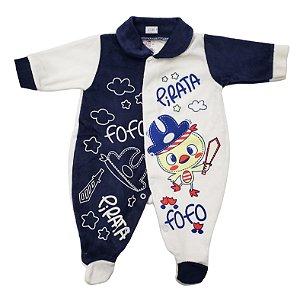 Macacão Plush Azul Escuro - Estampas Variadas - Carolina Baby - Ref. 09385