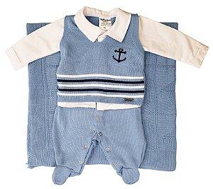 Saída Maternidade de Tricot Azul Marinheiro 03 peças - Tamanho RN - Fofinho - Ref.: 121023