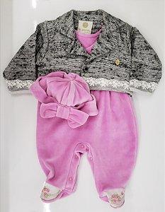 Macacão de plush com casaco e touca - Ref.: 01020653