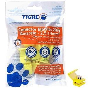 Conector de Derivação Tigre Amarelo 2,5 a 4mm 600V Pacote com 10 unidades