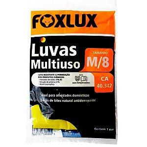 Luva de Látex Foxlux Multiuso Media Nº8 Antiderrapante Amarela