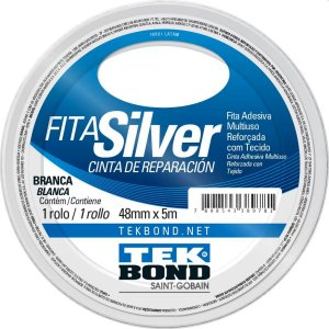 Fita Adesiva Tekbond Silver Tape Branca 48mm x 5m