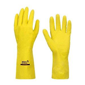 Luva de Látex Volk Multiuso Slim Amarela Média Embalagem com 12 Unidades
