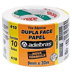 Fita Dupla Face Adelbras de Papel 9mm x 30m Embalagem com 10 Unidades
