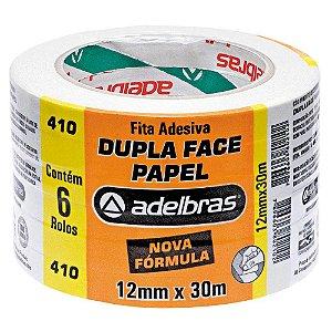 Fita Dupla Face Adelbras de Papel 12mm x 30m Embalagem com 6 Unidades