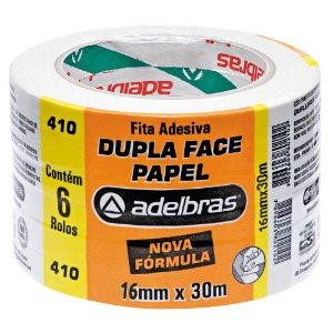Fita Dupla Face Adelbras de Papel 16mm x 30m Embalagem com 6 Unidades