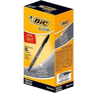 Caneta Esferográfica Bic Cristal Precisão 0.7mm Ultra Fina Preta Caixa com 25 Unidades