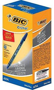 Caneta Bic Cristal Precisão Ultra Fina 0.7mm Azul Caixa com 25 unidades