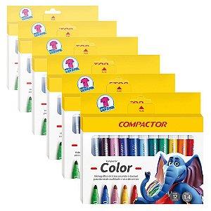 Caneta Hidrocor Compactor Color Sortidas 5 Caixas com 12 Cores Cada