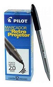 Caneta Pilot para Retroprojetor 2.0mm Preta Caixa com 12 Unidades