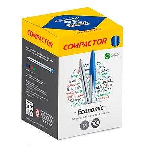 Caneta Compactor Economic Azul Caixa com 100 Unidades