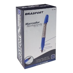 Marcador Permanente Brasfort Ponta 2mm Azul Caixa com 12 Unidades