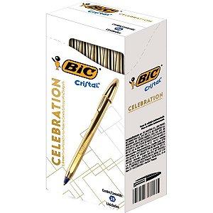 Caneta Bic Cristal Celebration Dourada 1.0mm Caixa com 25 unidades