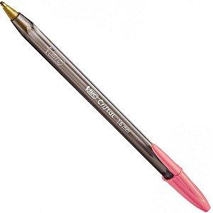 Caneta Esferográfica Bic Cristal Intenso 1.6mm Grossa Rosa Embalagem com 12 Unidades