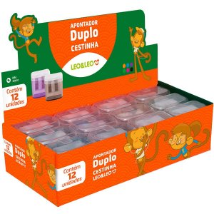 Apontador Duplo Leo&Leo com Cestinha Cores Sortidas Caixa com 12