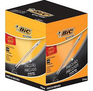 Caneta Bic Cristal Precisão Fina 0.8mm Preta Caixa com 100 unidades