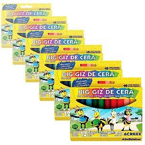 Giz de Cera Acrilex Big Redondo 12 Caixas com 12 Cores Cada