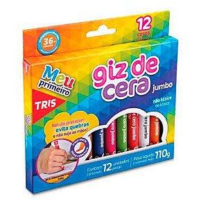 Giz de Cera Tris Jumbo com 12 Cores - 12 Caixas