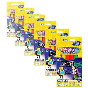 Giz de Cera Acrilex Big Neon com Glitter com 6 Cores - 6 Caixas