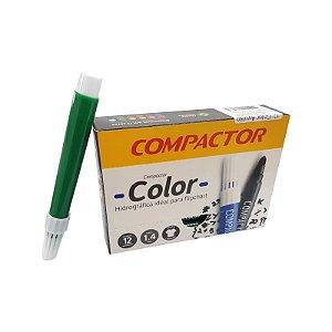 Caneta Hidrocor Compactor Color Verde Caixa com 12 Unidades