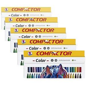 Caneta Hidrocor Compactor Color com 24 Cores - 5 Caixas