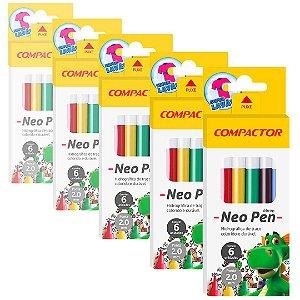 Caneta Hidrocor Compactor Neo-Pen Mirim com 6 Cores - 5 Caixas