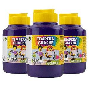 Tinta Guache Acrilex 250ml Violeta 516 - 3 Potes