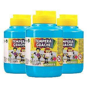 Tinta Guache Acrilex 250ml Azul Celeste 503 - 3 Potes