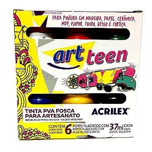 Tinta PVA Acrilex Art Teen 37ml Fosca com 6 Cores