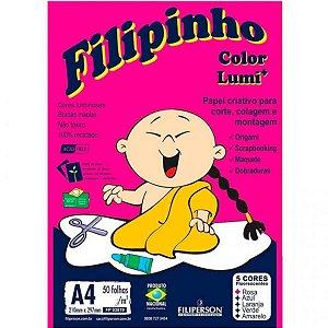 Papel Sulfite Filipinho Criativo A4 5 Cores 50 folhas 75g