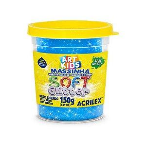 Massa de Modelar Soft Acrilex 150g Azul Glitter 204