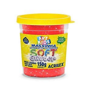 Massa de Modelar Soft Acrilex 150g Vermelho Glitter 205