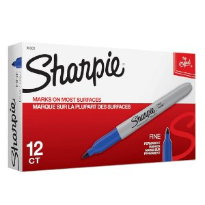 Marcador Permanente Sharpie Ponta Final Azul Caixa com 12 Unidades