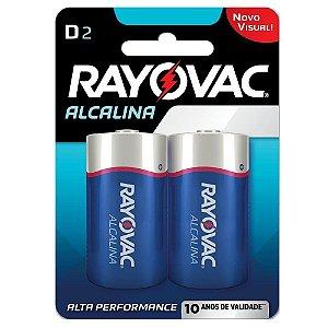 Pilhas Rayovac Alcalinas Grande Tamanho D 01 Cartela com 02 Unidades