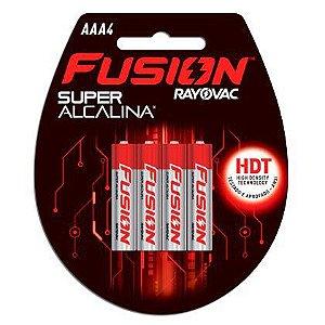 Pilhas Super Alcalinas Rayovac Fusion Palito AAA4 01 Cartela com 04 Unidades