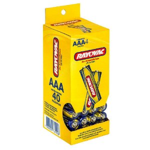 Pilhas Rayovac Palito AAA Embalagem com 40 Unidades