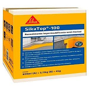 Impermeabilizante Sika Top 100 Cinza 4 Caixas de 04Kg Cada