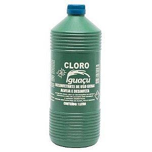 Cloro Alvejante e Desinfetante Iguaçu Uso Geral 1 Litro Caixa com 12 Unidades