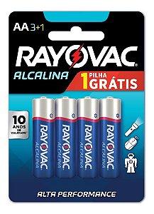 Pilhas Alcalinas Rayovac Pequena AA Cartela com 04 Pilhas
