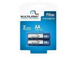 Pilhas Recarregaveis Multilaser CB053 Pequena AA Cartela com 2 unidades
